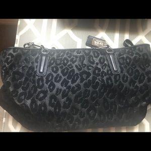 Coach purse black animal print